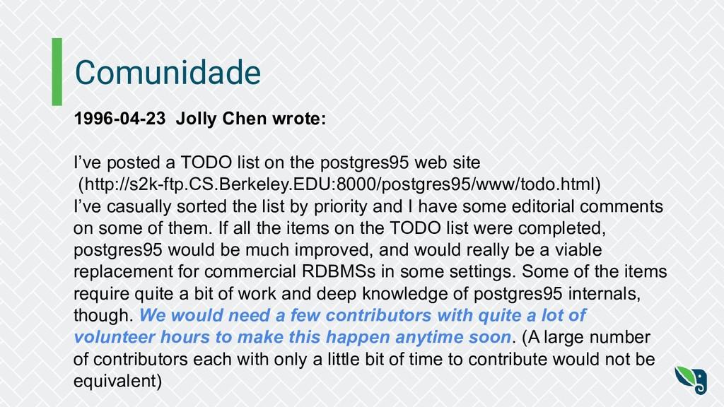 Comunidade 1996-04-23 Jolly Chen wrote: I've po...