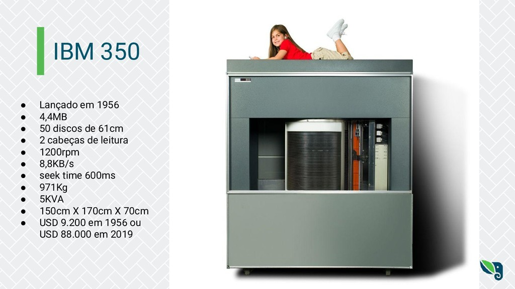 IBM 350 ● Lançado em 1956 ● 4,4MB ● 50 discos d...