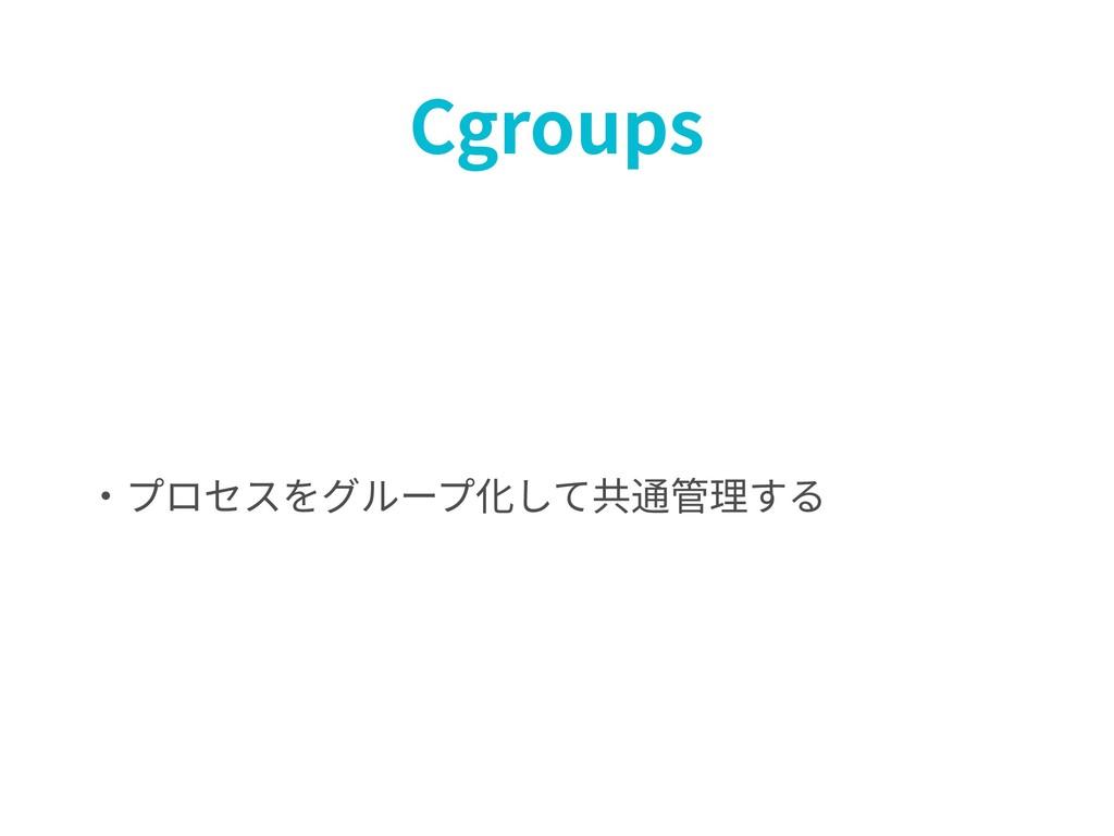 Cgroups ・プロセスをグループ化して共通管理する