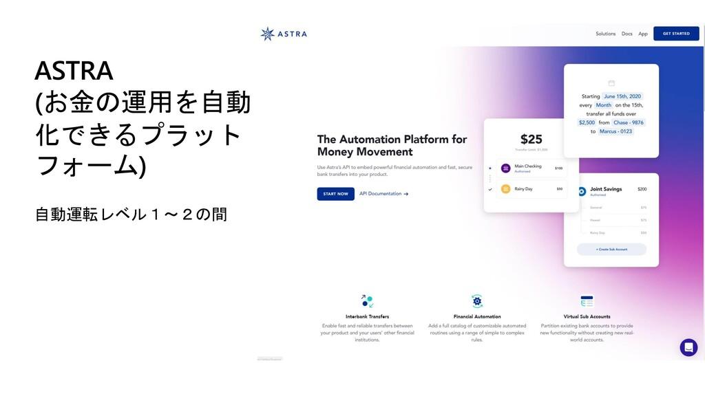 ASTRA (お金の運用を自動 化できるプラット フォーム) 自動運転レベル1~2の間