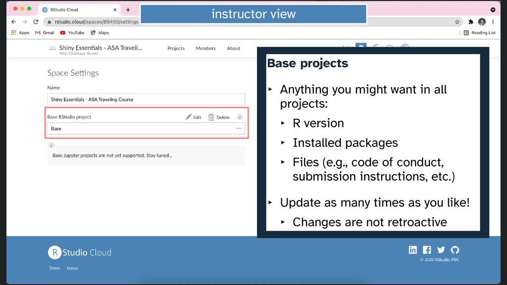 instructor view Base projects   ‣ Anything you ...