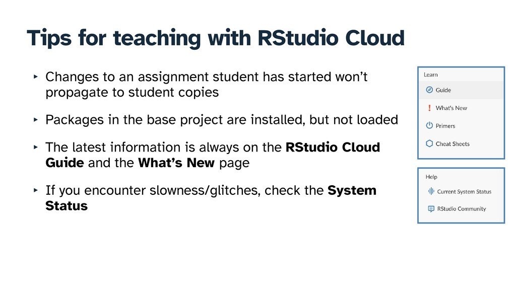 Tips for teaching with RStudio Cloud ‣ Changes ...