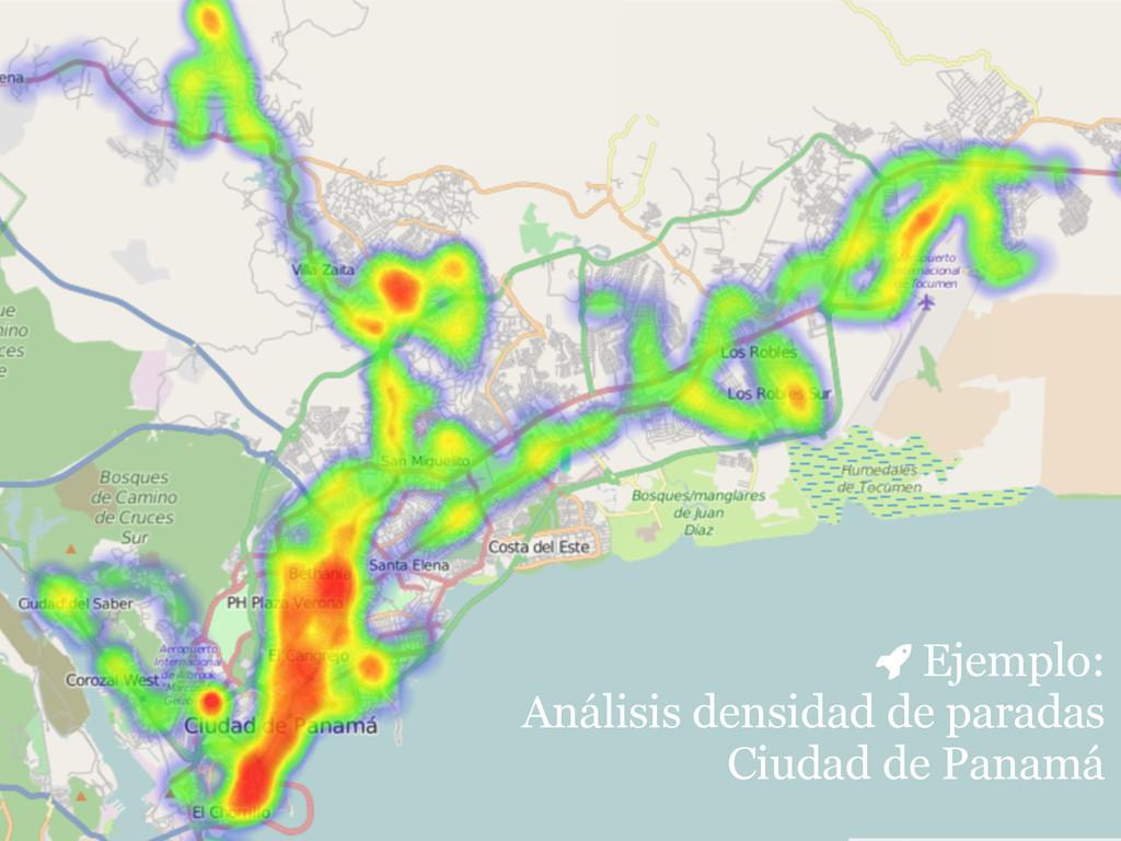 Ejemplo: Análisis densidad de paradas  Ciudad...