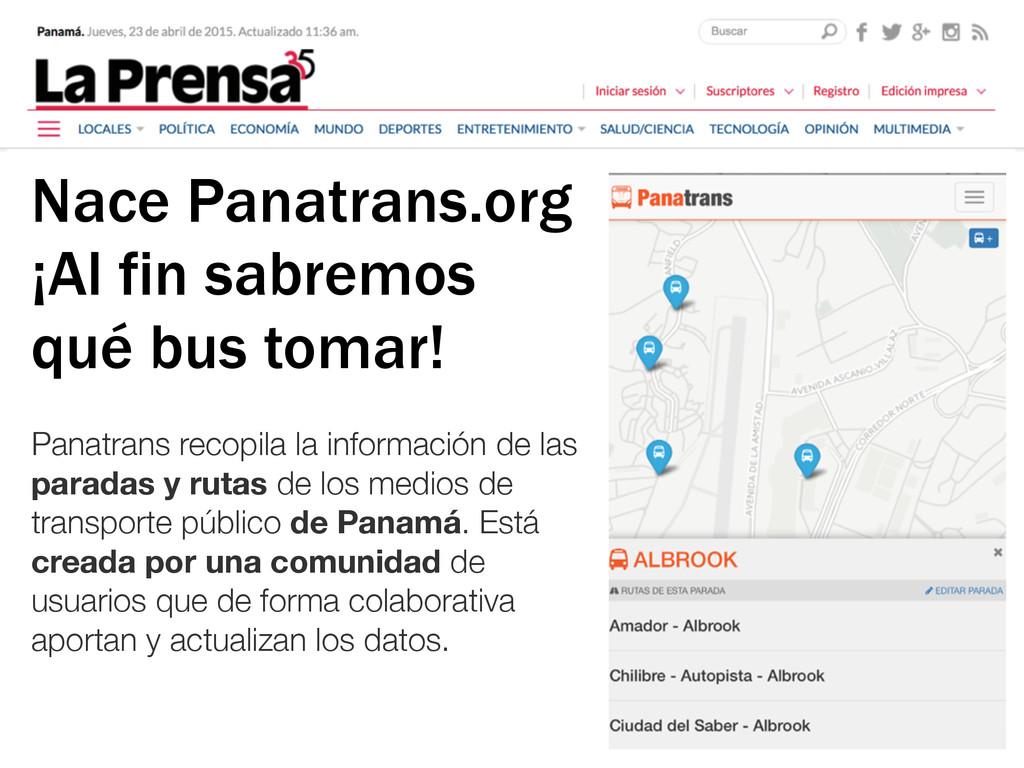 Panatrans recopila la información de las parada...