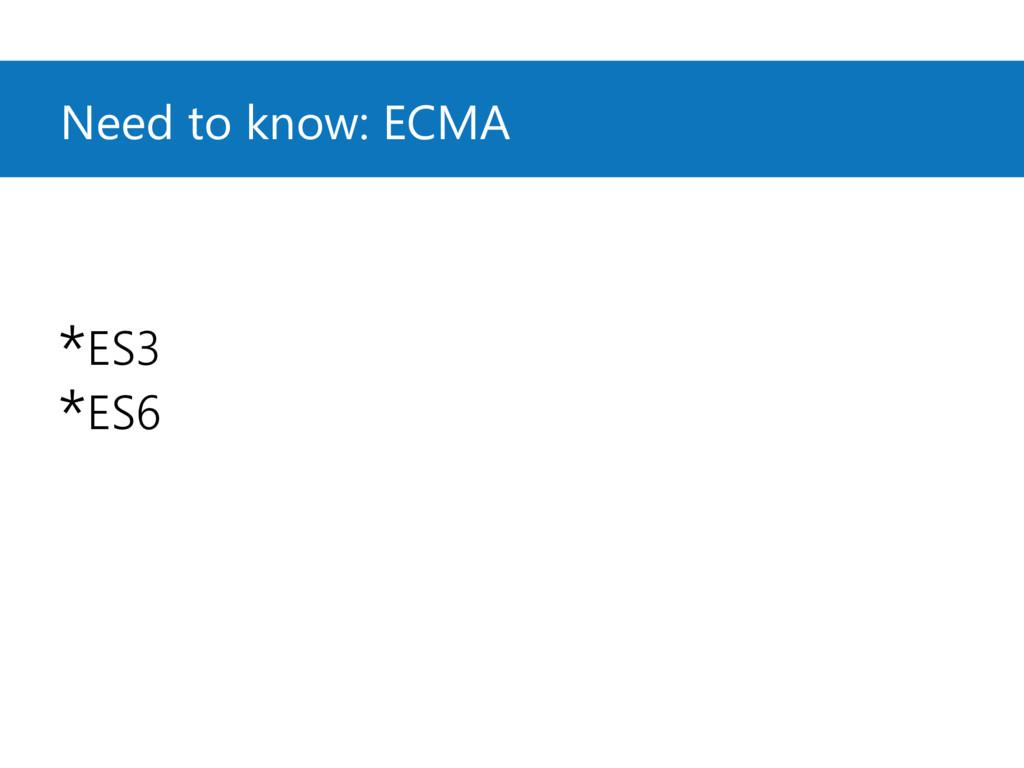 Need to know: ECMA *ES3 *ES6