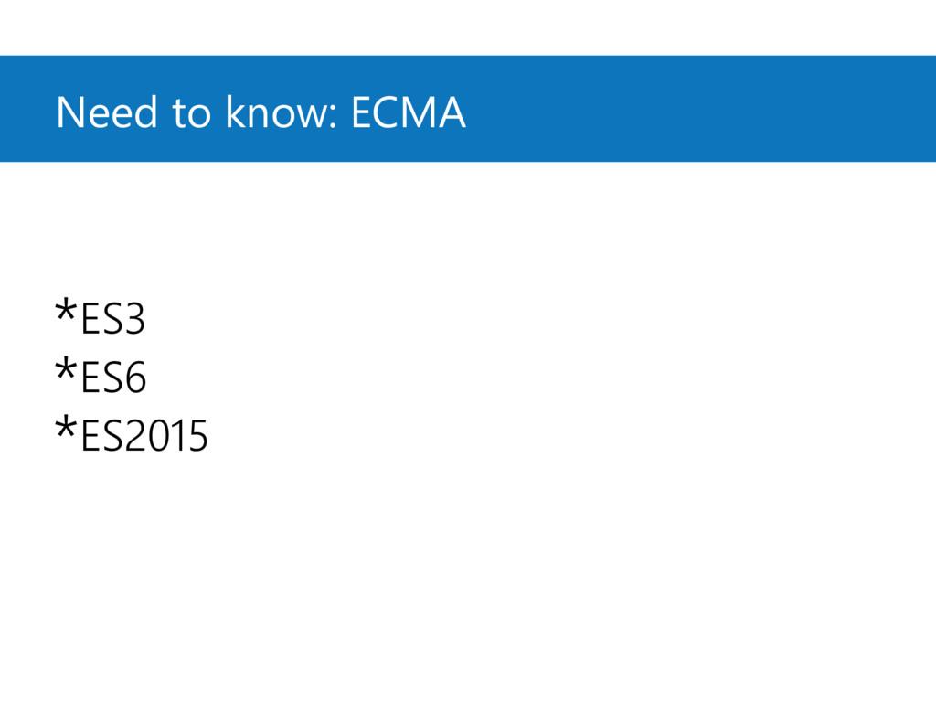 Need to know: ECMA *ES3 *ES6 *ES2015