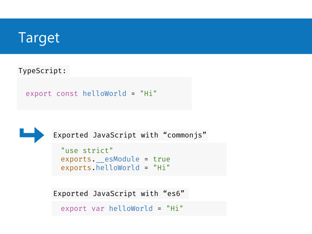 """Target export const helloWorld = """"Hi"""" TypeScrip..."""