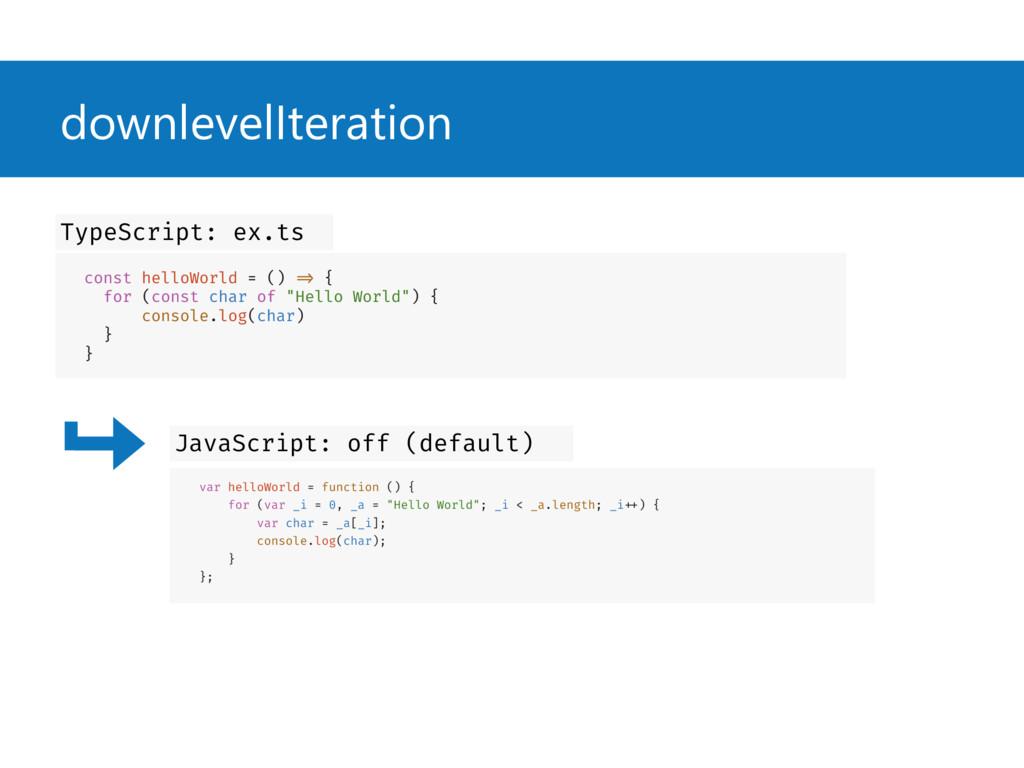 downlevelIteration const helloWorld = () => { f...