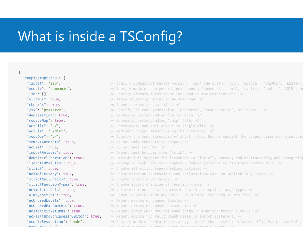"""What is inside a TSConfig? { """"compilerOptions"""":..."""