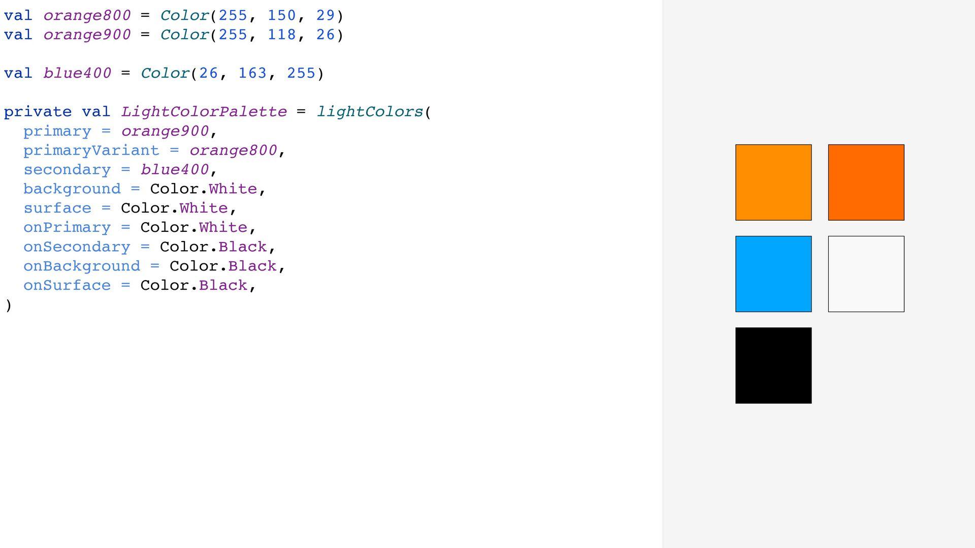 val orange800 = Color(255, 150, 29) val orange9...