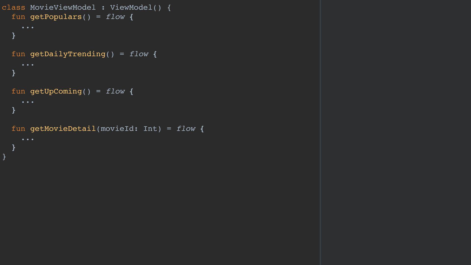 class MovieViewModel : ViewModel() { fun getPop...