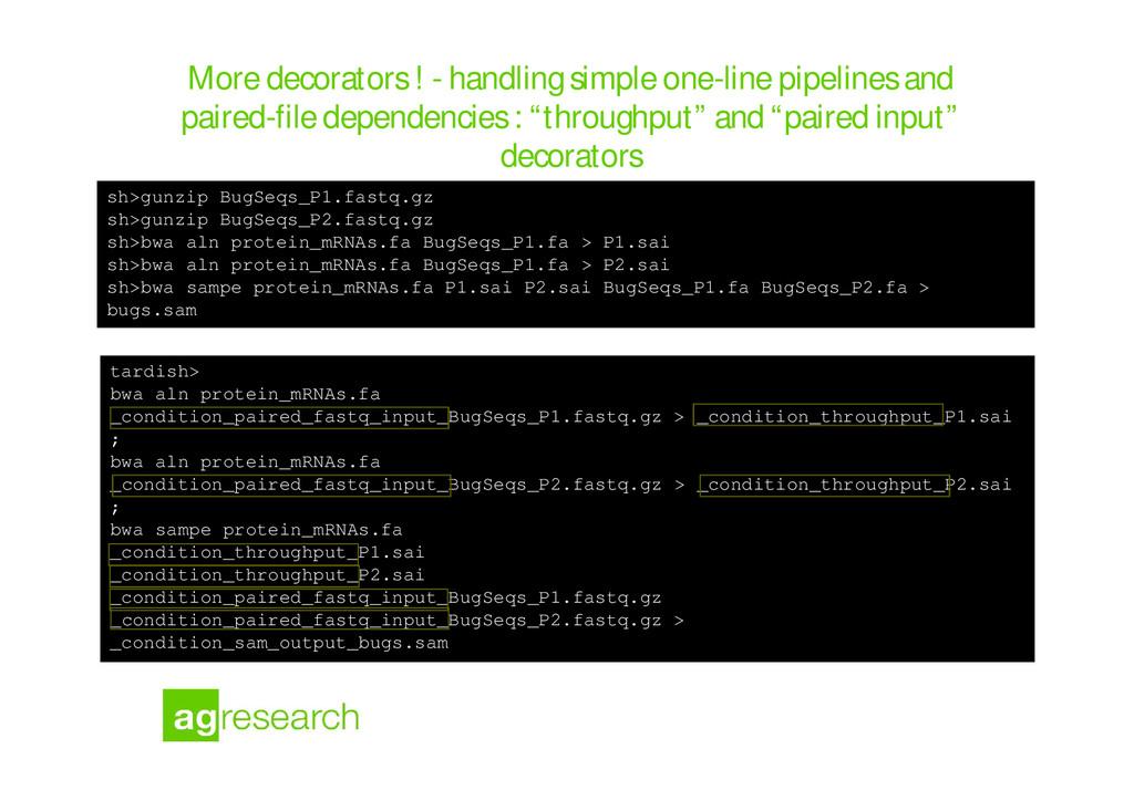 More decorators ! - handling simple one-line pi...