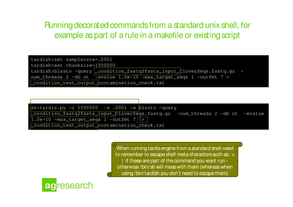 Running decorated commands from a standard unix...