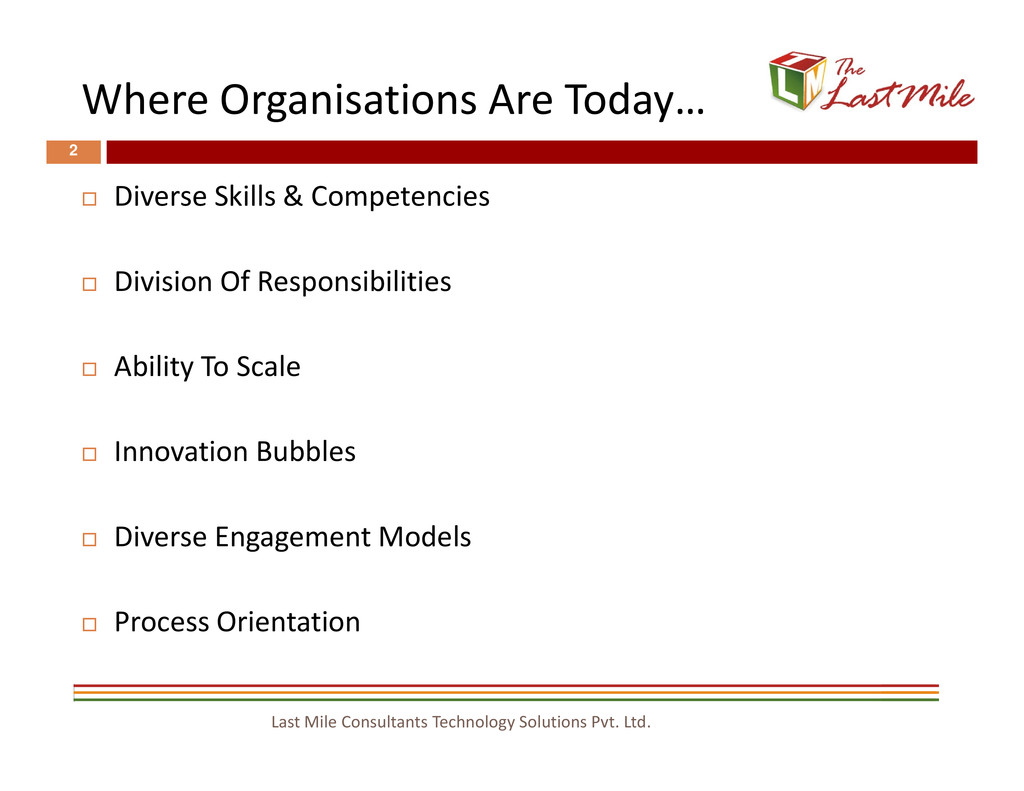 Where Organisations Are Today… 2 Diverse Skills...