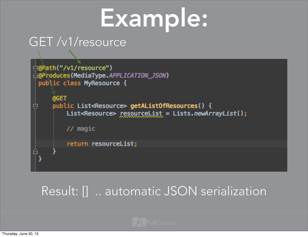 Example: Result: [] .. automatic JSON serializa...
