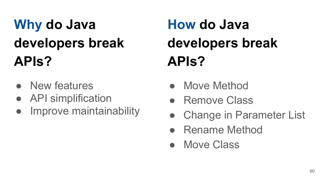 Why do Java developers break APIs? ● New featur...