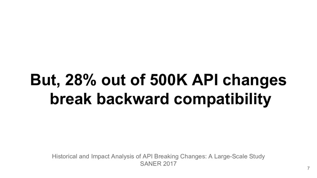 But, 28% out of 500K API changes break backward...