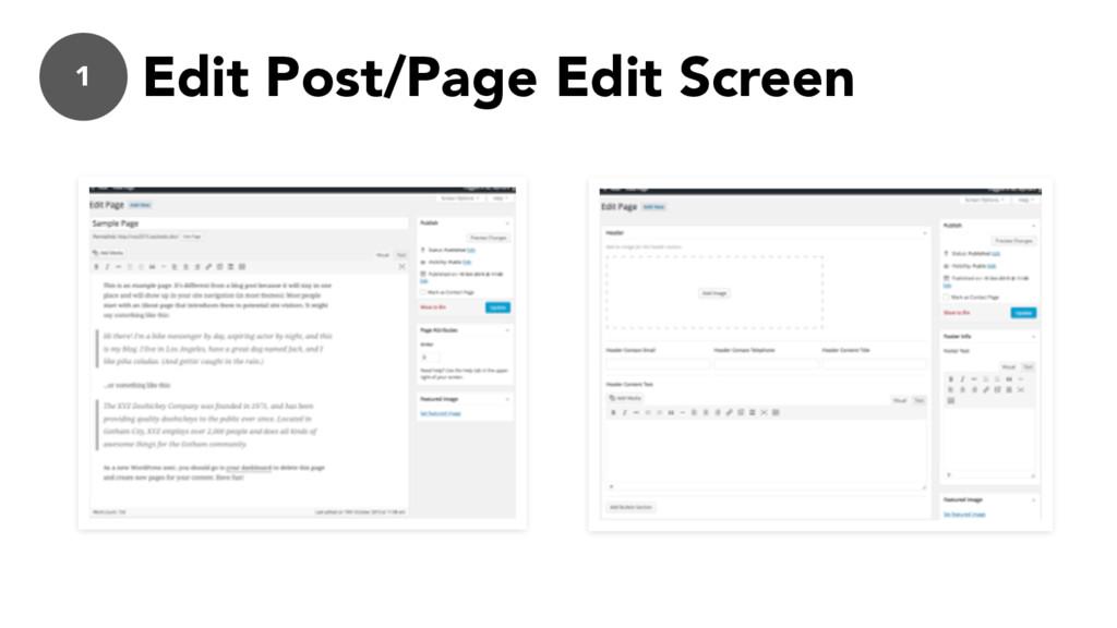 1 Edit Post/Page Edit Screen