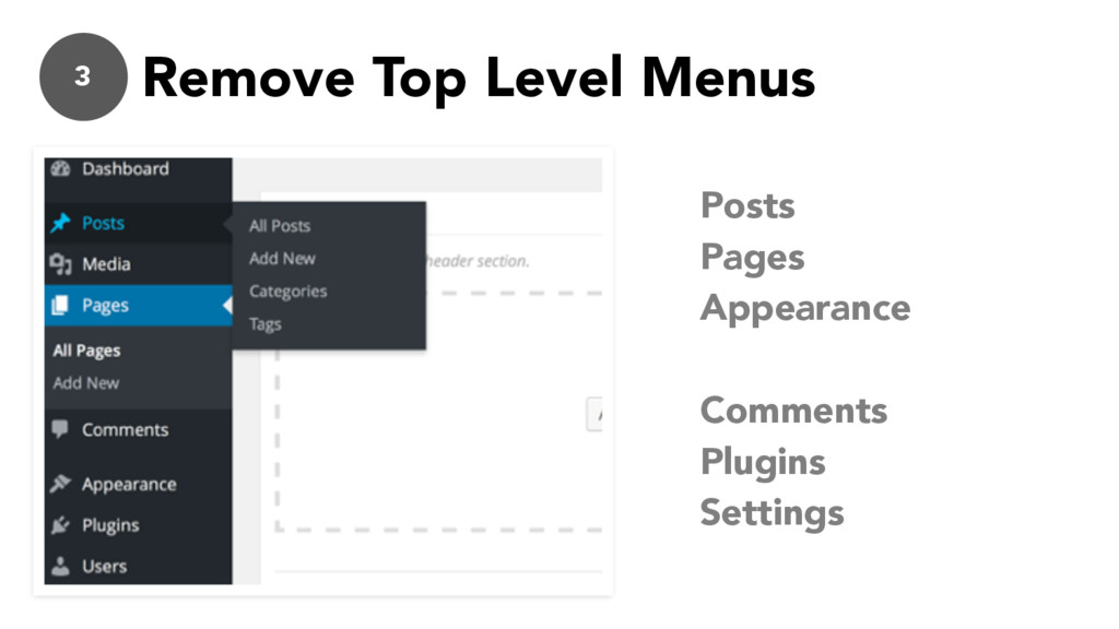 3 Remove Top Level Menus Posts Pages Appearance...