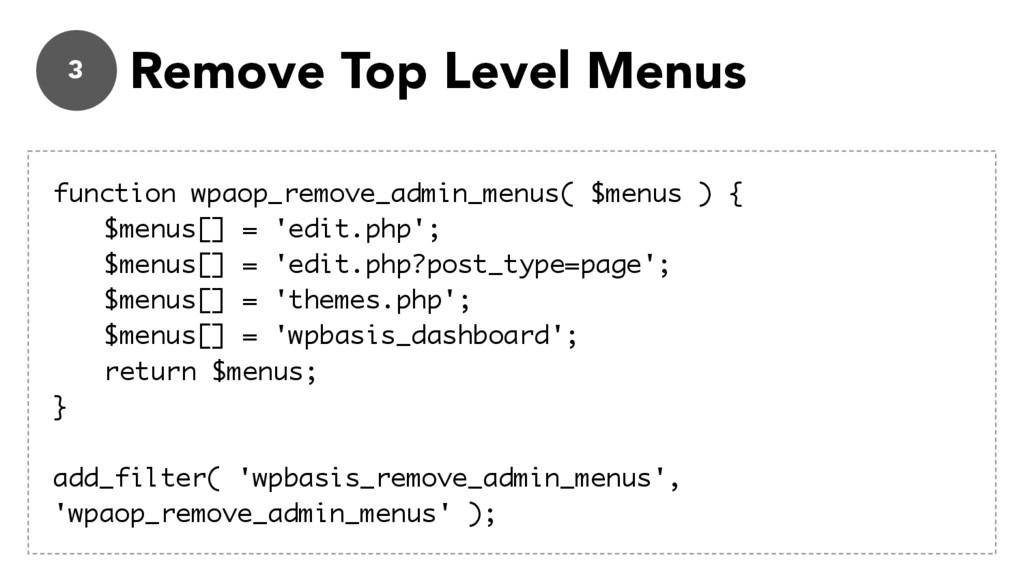 3 Remove Top Level Menus function wpaop_remove_...