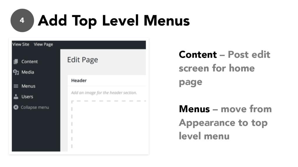 4 Add Top Level Menus Content – Post edit scree...