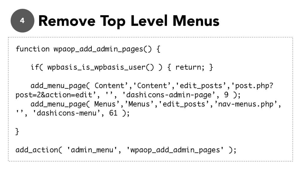 4 Remove Top Level Menus function wpaop_add_adm...