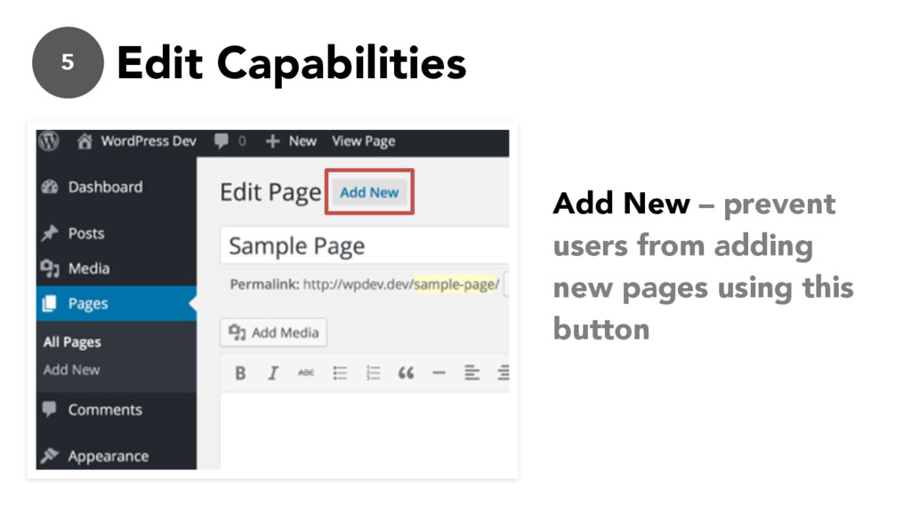 5 Edit Capabilities Add New – prevent users fro...