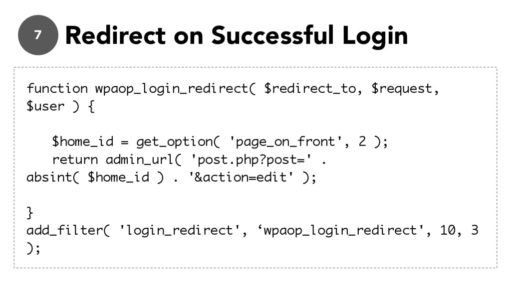 7 Redirect on Successful Login function wpaop_l...