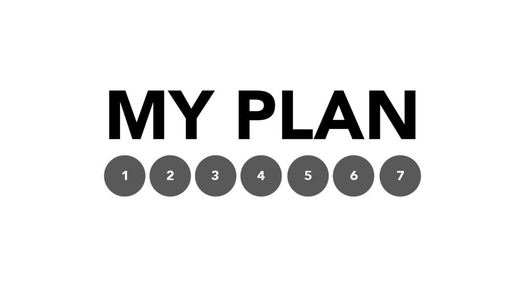 MY PLAN 1 2 3 4 5 6 7