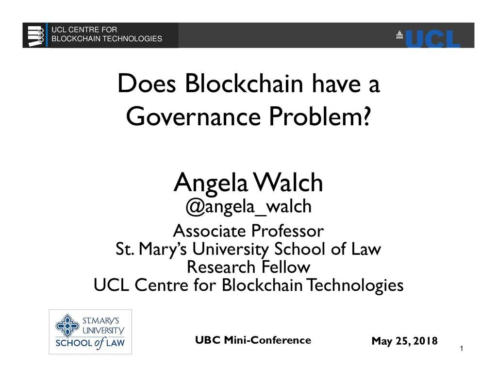 Does Blockchain have a Governance Problem? Ange...
