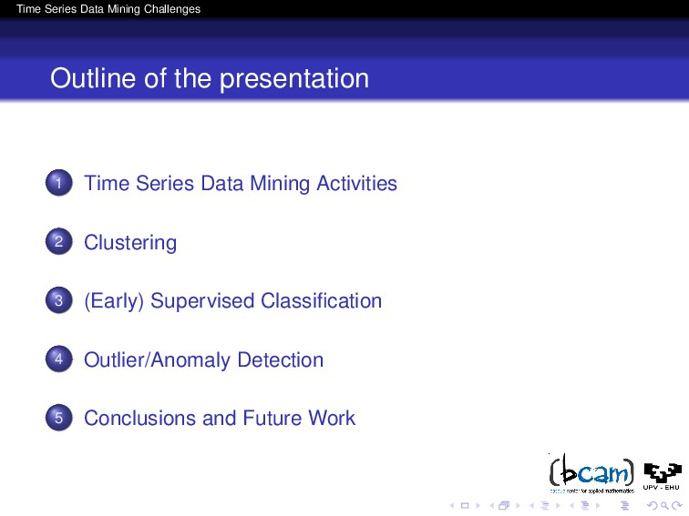 Time Series Data Mining Challenges Outline of t...