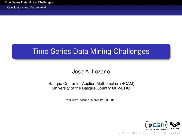 Time Series Data Mining Challenges Conclusions ...