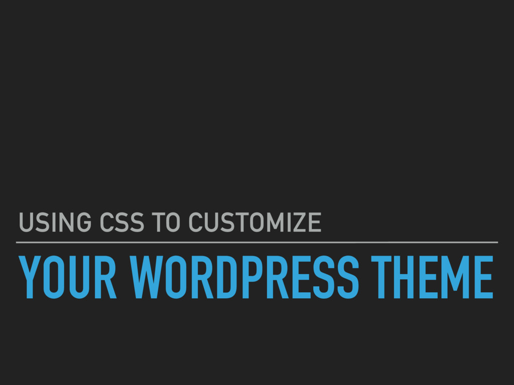 YOUR WORDPRESS THEME USING CSS TO CUSTOMIZE