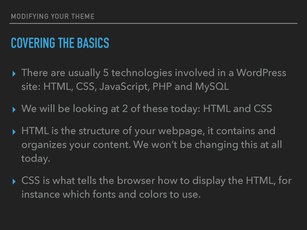 MODIFYING YOUR THEME COVERING THE BASICS ▸ Ther...