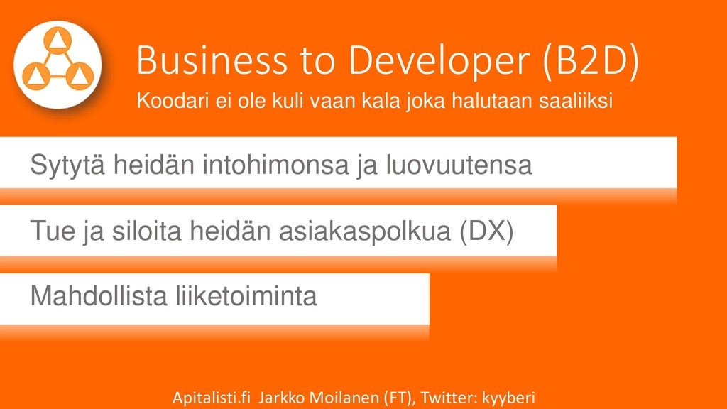 Business to Developer (B2D) Sytytä heidän intoh...