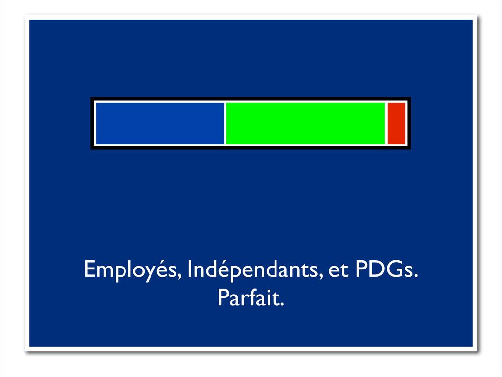 Employés, Indépendants, et PDGs. Parfait.