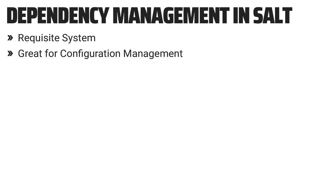 DEPENDENCY MANAGEMENT IN SALT DEPENDENCY MANAGE...