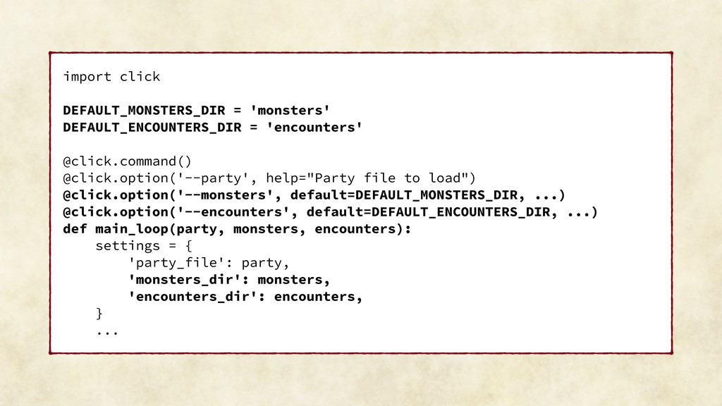 import click DEFAULT_MONSTERS_DIR = 'monsters' ...