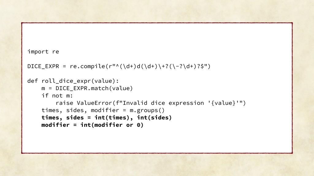 "import re DICE_EXPR = re.compile(r""^(\d+)d(\d+)..."
