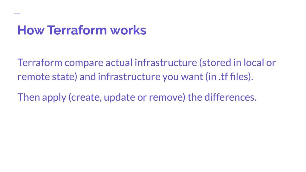 How Terraform works Terraform compare actual in...