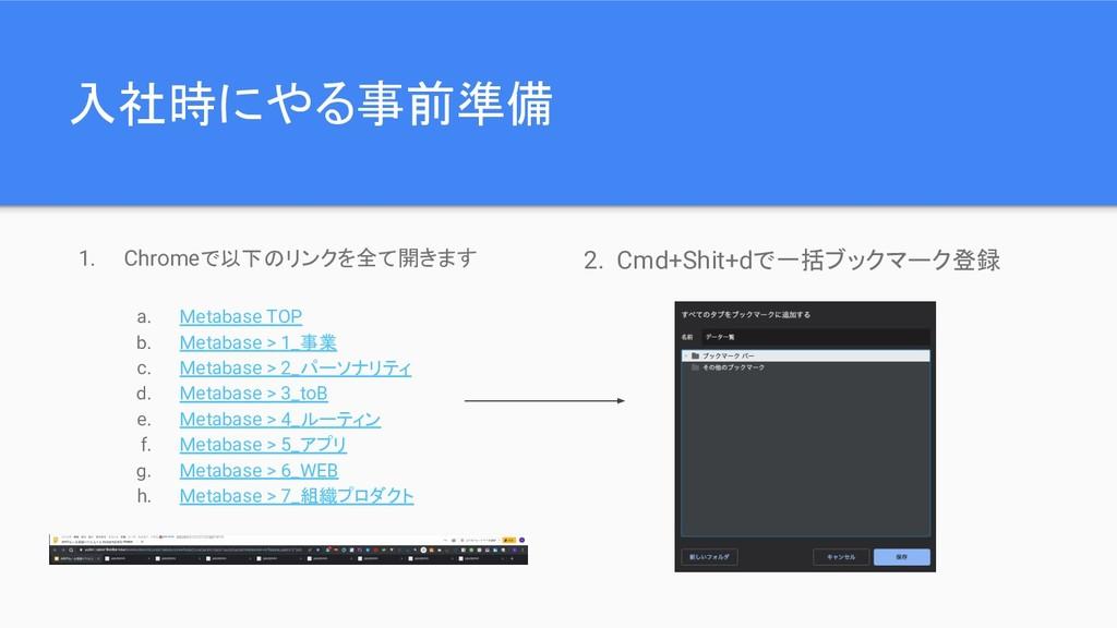 入社時にやる事前準備 2. Cmd+Shit+dで一括ブックマーク登録 1. Chromeで以...