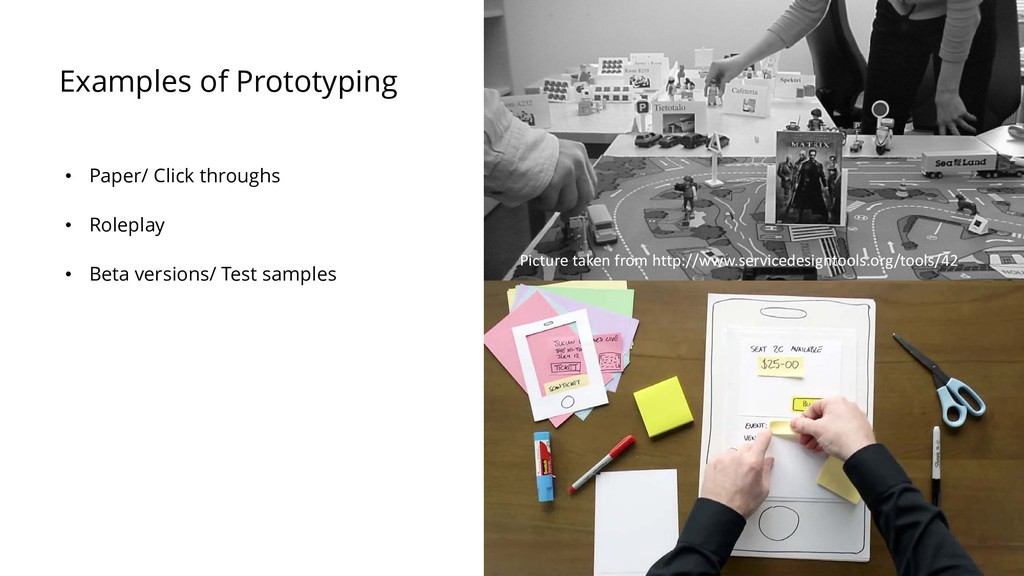 Examples of Prototyping • Paper/ Click throughs...