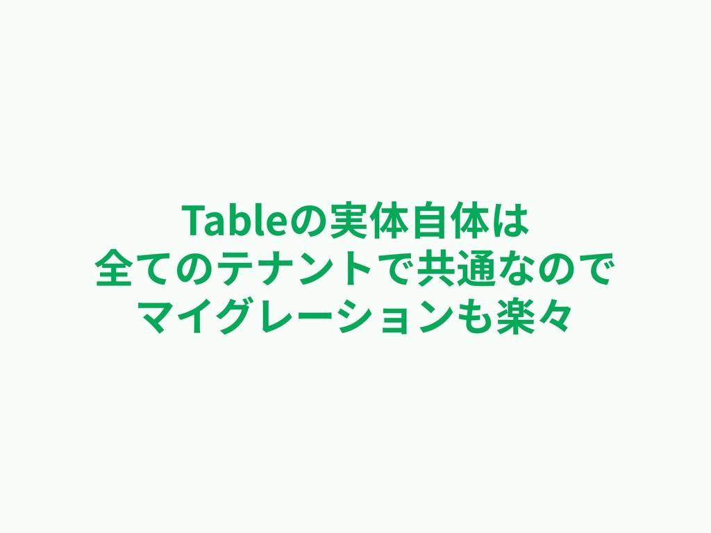 Tableの実体⾃体は 全てのテナントで共通なので マイグレーションも楽々