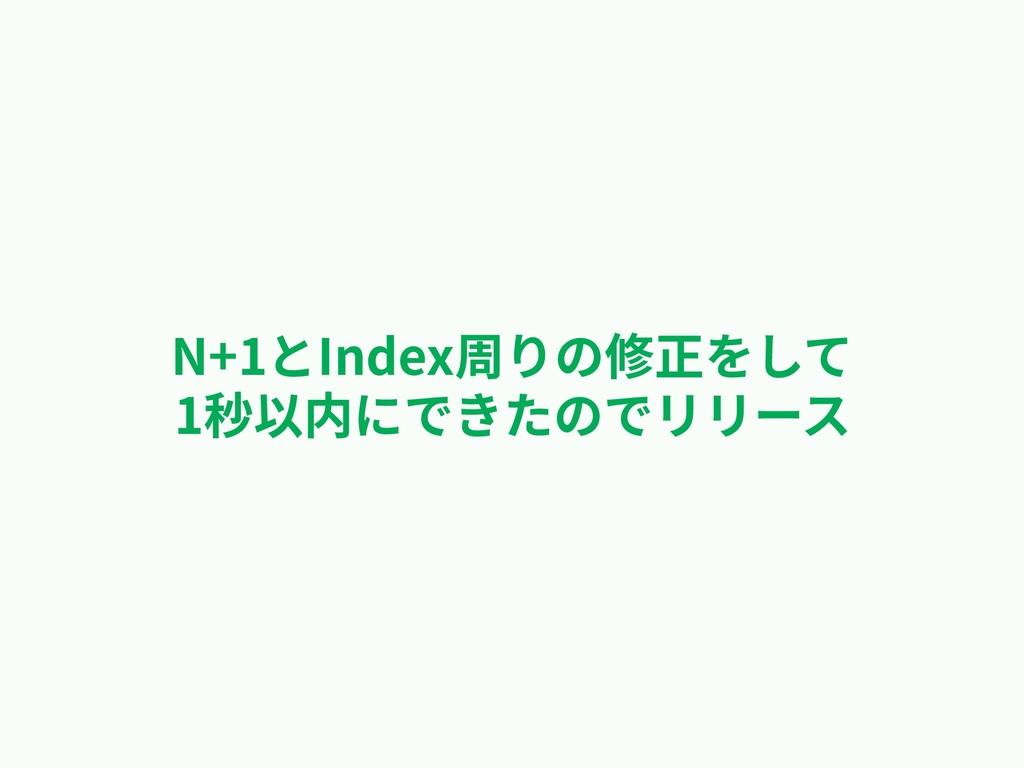 N+1とIndex周りの修正をして 1秒以内にできたのでリリース
