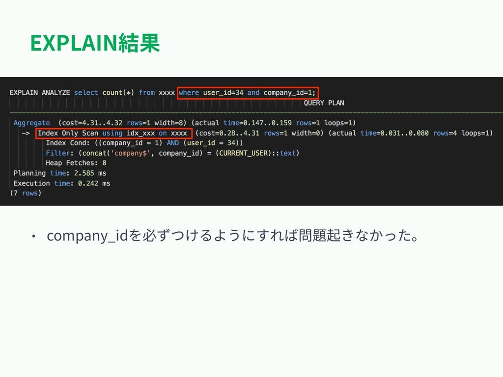 EXPLAIN結果 • company_idを必ずつけるようにすれば問題起きなかった。