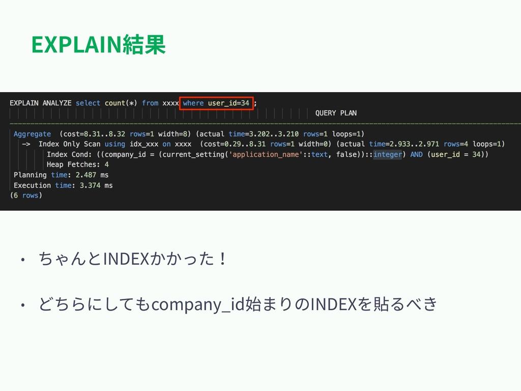 EXPLAIN結果 • ちゃんとINDEXかかった! • どちらにしてもcompany_id始...