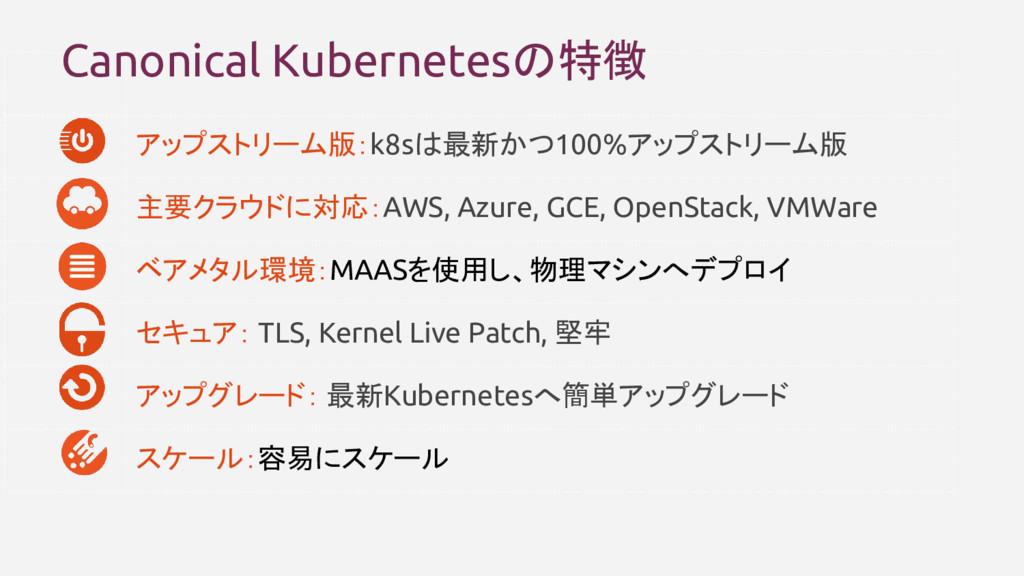 アップストリーム版:k8sは最新かつ100%アップストリーム版 主要クラウドに対応:AWS, ...