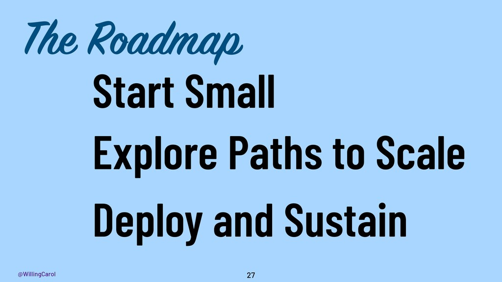 @WillingCarol 27 Start Small Deploy and Sustain...