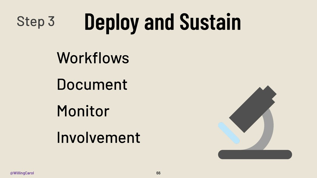 @WillingCarol Deploy and Sustain 66 Workflows Do...