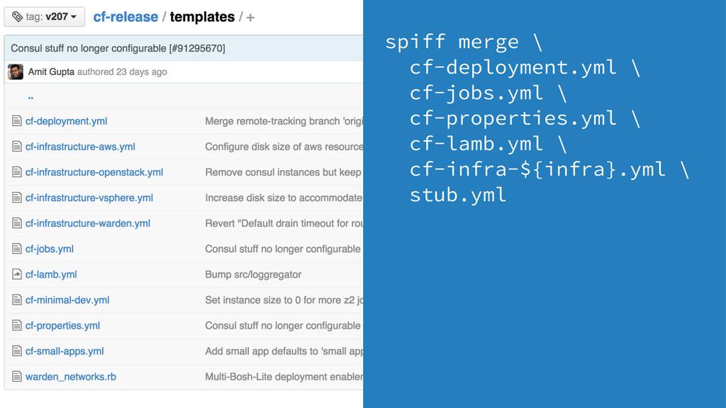 spiff merge \ cf-deployment.yml \ cf-jobs.yml \...